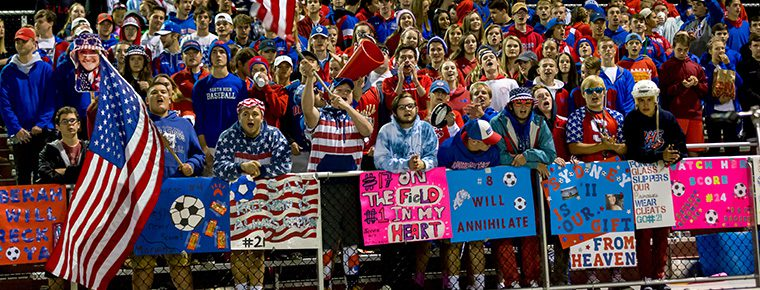 SGF students cheering at the girls soccer game.