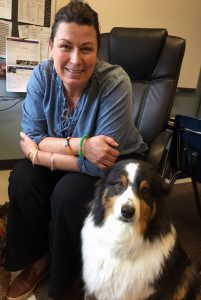 Social worker Lisa Catalfamo and her dog Poncho