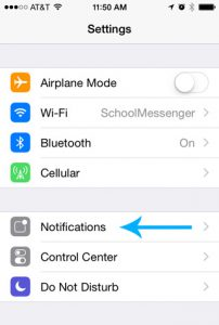 Screenshot of an Apple device's Settings menu, with a blue arrow pointing at the Notifications option