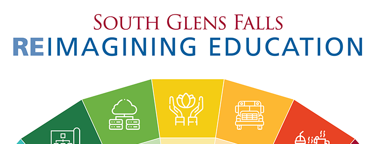 "Top half of a kaleidoscope with small images representing technology, mental health and transportation visible. Top of photo reads, ""South Glens Falls: Reimagining Education."""